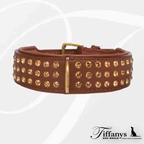 "Halsband ""Strass Extreme Brown-Gold"" 3-reihig"