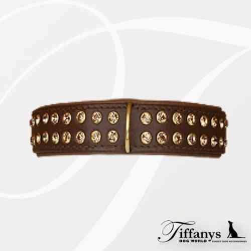 "Halsband ""Strass Extrem Brown-Gold"" 2-reihig"